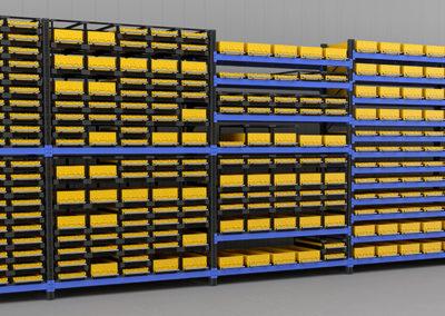 Инсталляция из стеллажных и каркасных фронтальных модулей, собранная в стеллаже