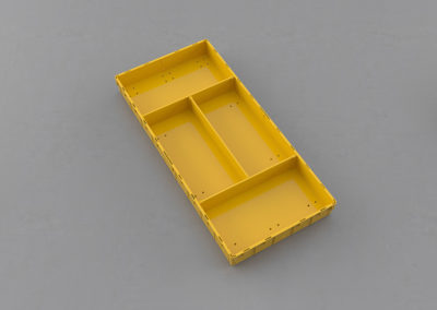 Как получить 2 продольных и 2 поперечных сегмента по 1/4 ящика