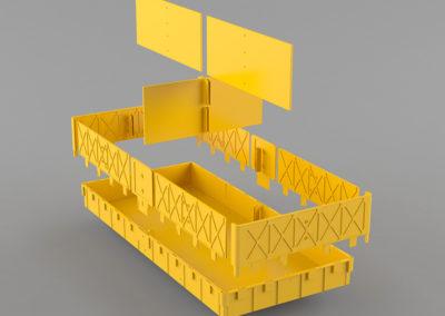 Схема установки в ящик-трансформер разделителей и наращиваемого борта