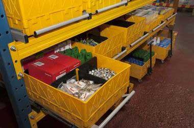 (05) Стеллажный модуль (высокий борт) с товаром. Арт. СМ-ВБ.
